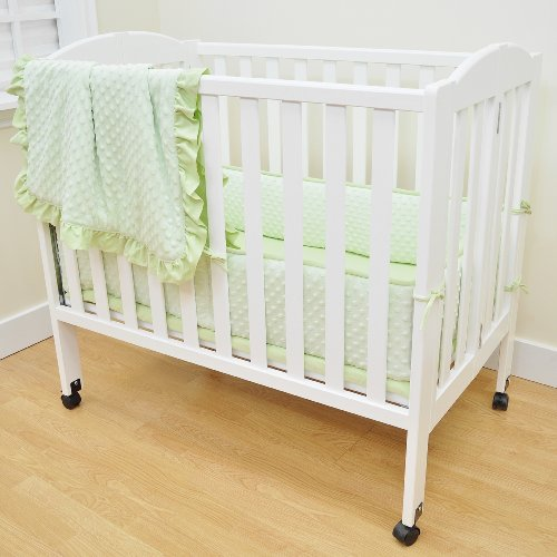American Baby Company Heavenly Soft Minky Dot Chenille Portable/Mini Crib Bedding Set, Celery,3-Piece