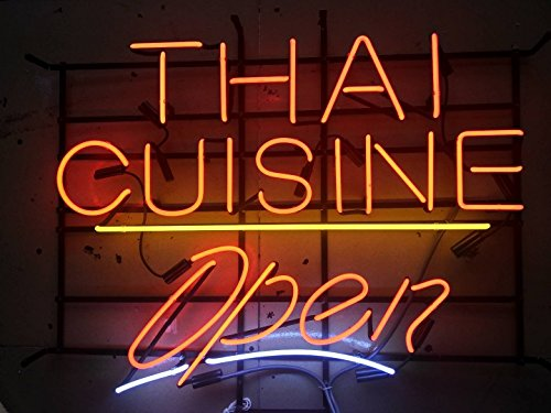 Desung Brand New 24''x20'' Thai Cuisine Open Neon Sign (Various sizes) Beer Bar Pub Man Cave Business Glass Neon Lamp Light DB24 by DESUNG