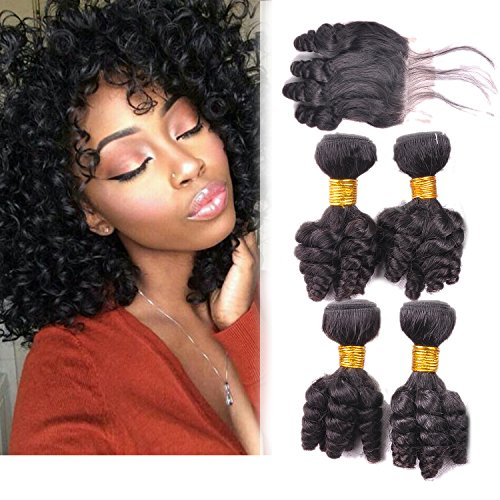 Funmi Curl 4 Bundles With 4x4Closure Natural Black Unprocessed Human Remy Hair Short Curly Weave Brazilian Virgin Hair Weft 250g/lot(10