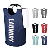 DOKEHOM DKA0001DB2 Large Laundry Basket with Coin Bag, Collapsible Laundry Hamper, Foldable Clothes Bag, Folding Washing Bin, Available in 6 Colors (Dark Blue)