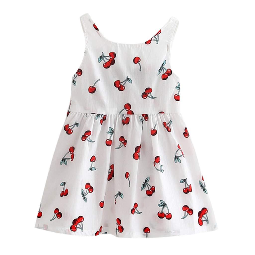 2-7 Years Toddler Baby Girls Cute Sleeveless Cherry Print Tank Tops Dresses Summer Loose Bow Knot Back Ruffle Mini Dress