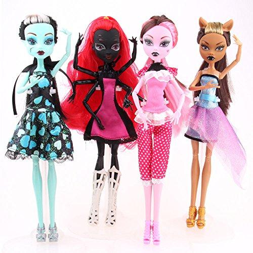 4Pcs Monster High Dolls Set Draculaura Clawdeen Wolf Frankie Stein D Wydownaa Doll