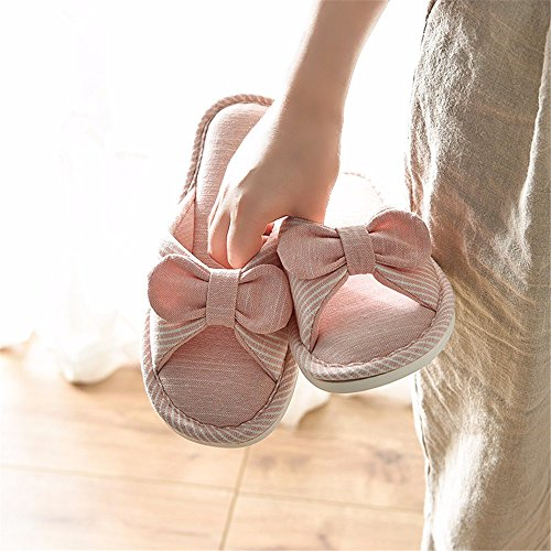 toe l'antidérapage respirante bow dame nouvelle et chaussons Gules printemps accueil YMFIE chaussons coton Le l'automne q7Fv4Z0
