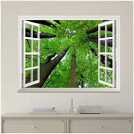 Modern White Window Looking Out Into The Top of The Trees - Wall Mural, Removable Sticker, Home Decor - 36x48 inches