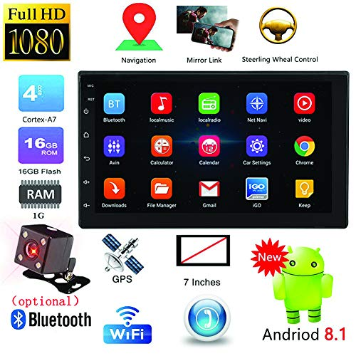 Meiyiu 7'' Android 8.1 Double 2 DIN 16G Quad Core GPS Car Stereo MP5 Player FM + Rear Camera with Camera