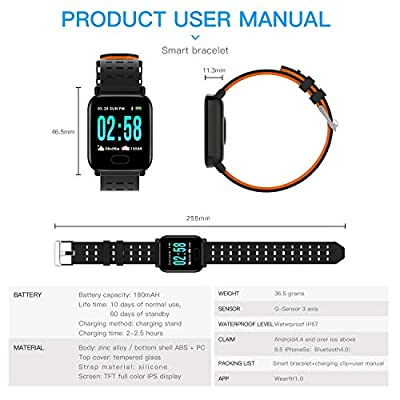 Xenzy Smart Watch for Men Women IP67 Waterproof Fitness Tracker with Heart Rate Blood Pressure Monitor Calories Pedometer Step Counter Stopwatch for Activity Tracker Smart Bracelet