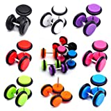 fake plugs for girls - NASAMA 8pair Acrylic Stud Earrings Barbell Fake Gauges Kit Faux Plugs 16 Pieces (Acrylic 16pcs)