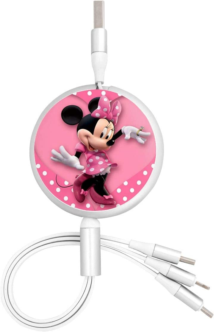 Mickey Mouse USB Round Three-in-One Material Data ABS Cables Multi USB Charger CableRetractable Multiple Fasts Chargings Data line Protective Case
