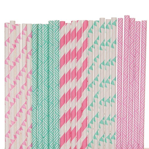 Pink and Aqua Blue Paper Straw Mix - Basket Weave, Pennant Banners, Striped (100)