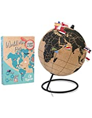 Tripvea - Wereldbol van zwart kurk - decoratie reisthema - vintage wereldkaart - decoratieve wereldkaart - Ideaal cadeau- en decoratie-idee voor kantoren (Kurkbol ø 18 cm + 342 vlaggen)