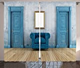 Antique Decor Curtains Empty Room With Two Doors Armchair And Simple Mirror With Golden Color Frame Living Room Bedroom Decor 2 Panel Set
