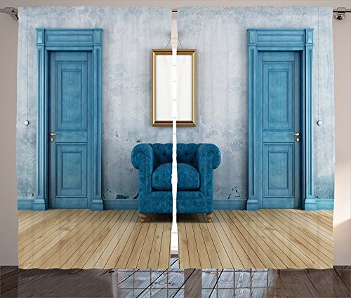 Antique Decor Curtains Empty Room With Two Doors Armchair And Simple Mirror With Golden Color Frame Living Room Bedroom Decor 2 Panel Set by sophiehome