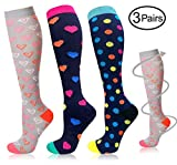 Ladies nursing Compression Socks for Women & Men (20-30 mmHg) Knee High Compression Socks patterned Colorful Stockings Fit for Nurses Teacher Pregnancy Worker Running Athletic Swelling - L/XL