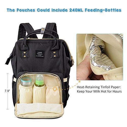 Pañal Mochila, Gran Capacidad Mummy Travel Nappy Tote Bolsa Bolsa de Enfermería Hombro Organizer con bolsas aisladas Stroller correas para el cuidado del bebé (Gris) Negro