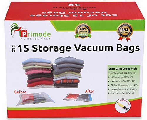 Primode Space Saver Vacuum Storage Bags, 15 Count Value Pack  Saves Space & Protects Clothing Easy-to-Use (Set Of 15)
