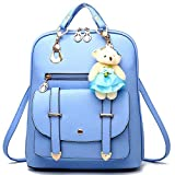 Alice Sky Blue PU Leather Travel Rucksack Women's Shoulder Backpack