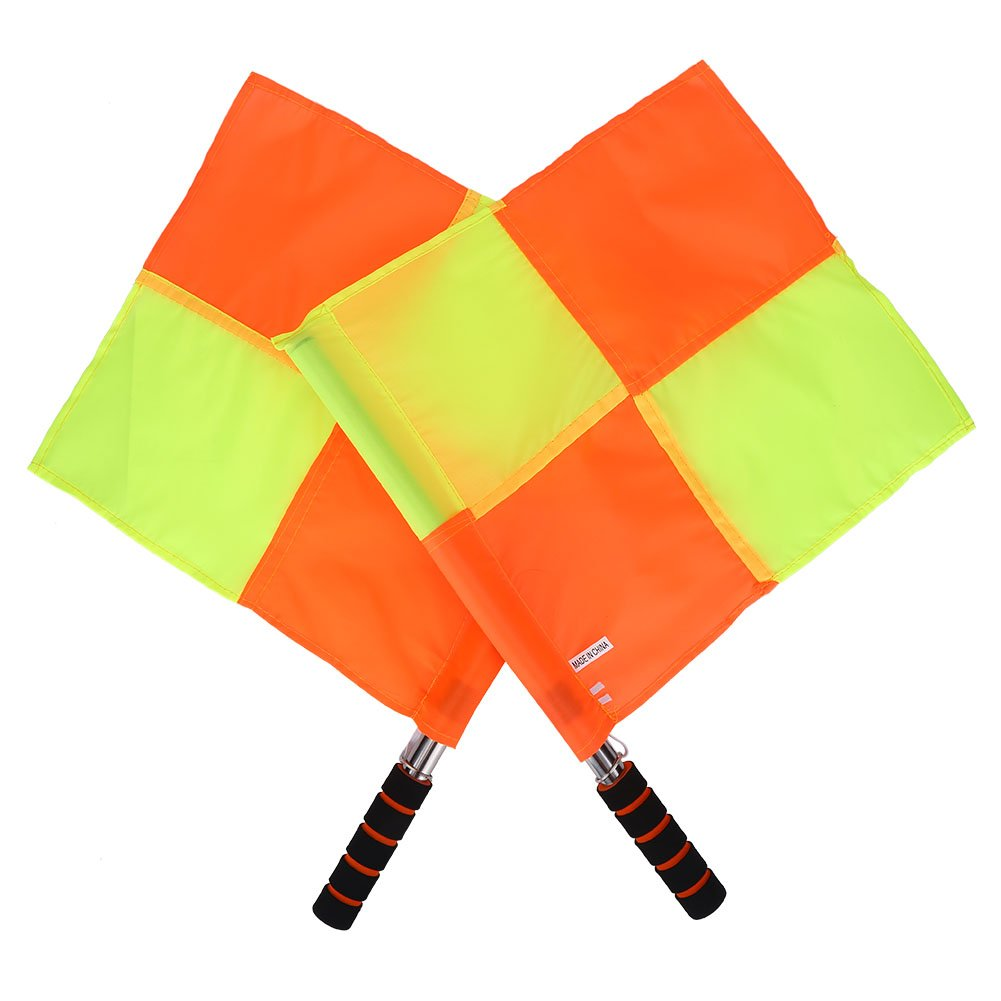 2Pcs Linesman Flag, Waterproof Referee Soccer Flag with Storage Bag Rugby Hockey Training Accessory
