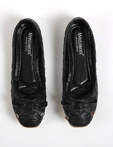 PDX/ Damenschuhe-Ballerinas-Lässig-Kunstleder-Flacher Absatz-Komfort / Rundeschuh-Schwarz black-us5.5 / eu36 / uk3.5 / cn35