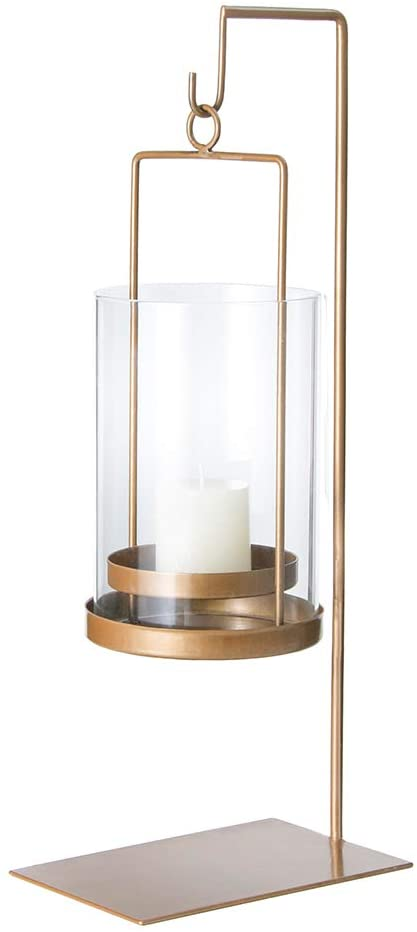 Retrome Gold Glass Hurricane Candle Holder with Removable Glass Cylinder Display Stand Large Metal Hanging Decorative Lantern Centerpiece for Table, 18""