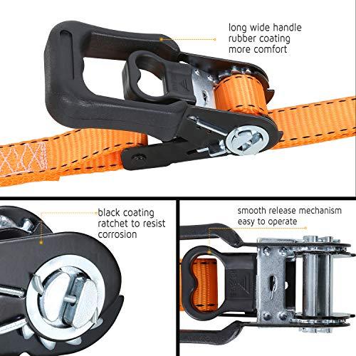 Trekassy Tie Down Straps Ratchet Heavy Duty 4 Pack - 15 Ft - 3450 lbs Max Break Strength - Bonus 4+2 Soft Loop Anchoring Straps for Securing Motorcycles by Trekassy (Image #1)