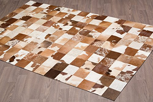 - Tan Jersey Hand-stitched Cowhide Leather Rug (5'0 x 8'0)