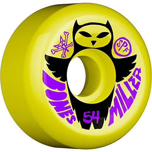 Bones Wheels Chris Miller Skatepark Formula Pro Miller Owl Yellow Skateboard Wheels - 54mm 84b (Set of 4)