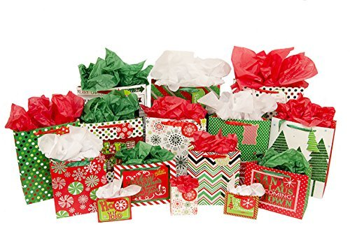 Christmas Gift Bag Variety Pack (60 pieces) - 15 High Quality Gift Bags Various Sizes - 15 Sheets of each Green, Red, and White Tissue Paper