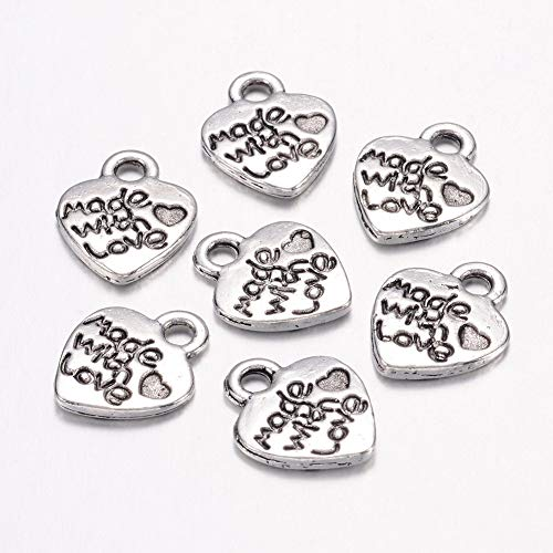 Craftdady 50 PCS Tibetan Style Antique Silver Engraved Made with Love Heart Alloy Metal Valentines Day Charms Pendants, Cadmium Free & Lead Free, 12.2x10x1.8mm