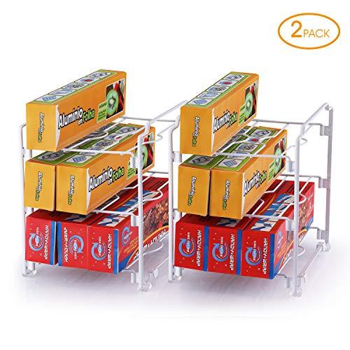 Simple Trending 2 Pack - Kitchen Wrap Organizer Rack, Organizer Holder for Aluminum Foil, Saran and Plastic Wrap, White