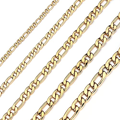 Forevereally 4-8.5mm Figaro Link Chain Necklace 16-36 Inches Golden Stainless Steel Necklace Men Women ()