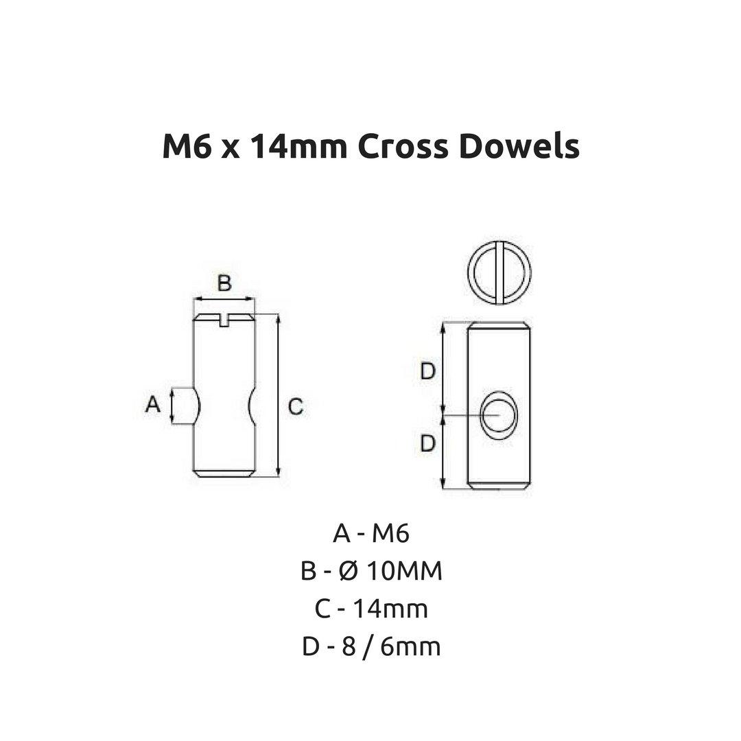 Écrou taraudés à goupilles transversales M6x 14mm Boulons de raccordement pour lits superposés et berceau–Lot de 4 The Bed Slats Company