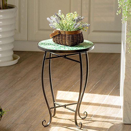 Custpromo Mosaic Accent Table Metal Round Side Table Plant Stand with Cobalt Glass Top Indoor Outdoor Garden Patio Table (Bella (Mosaic Side Table)