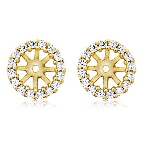 Jackets Earring Cubic Zirconia - 925 Yellow Gold Plated Sterling Silver Earring Jackets for 7mm Round Studs