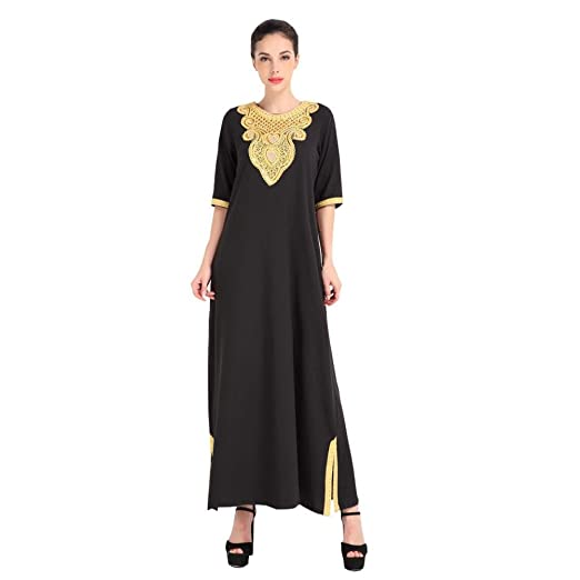 a54c0415910b4 Sunward Muslim kaftan dubai long sleeve dress with embroidery for women Islamic  clothing gown (M