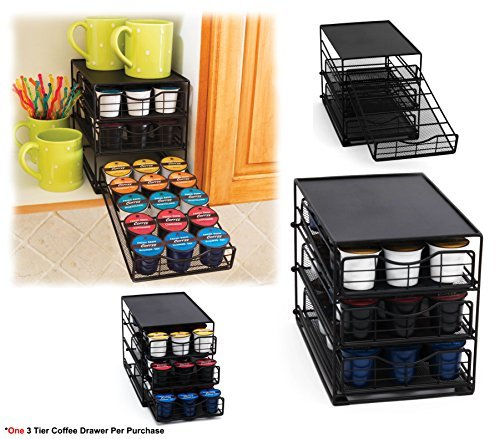 Space Saver Coffee Pods Organizer - 3 Tier K-Cup Holder Storage Drawers For K-cup Coffee Pods by Imperial Home