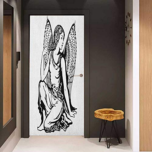 (Onefzc Glass Door Sticker Decals Zodiac Virgo Young Woman Artistic Figure with Angel Wings Monochrome Tattoo Art Design Door Mural Free Sticker W32 x H80 Black and White)