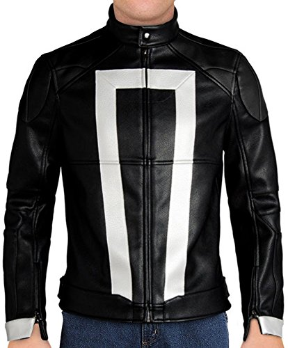 Agents of Shield Ghost Rider Leather Jacket (Black - Agents of Shield Ghost Rider Leather Jacket, XX-Small)