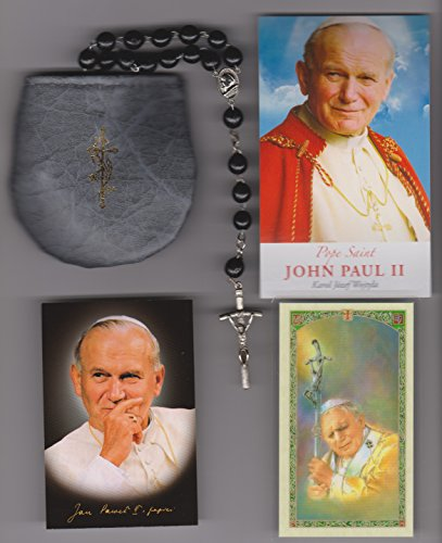 Black Rosary Blessed by Pope John Paul II with Papal Crucifix on 8/17/2002 in Krakow Poland with Rosary Case, Blessing Card, Pictures of Mass and of PJP, and 3 Holy Cards with Cross Bookmark