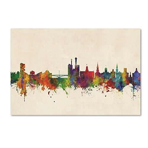 Iowa City Iowa Skyline by Michael Tompsett, 22x32-Inch Canvas Wall Art (Iowa Art)