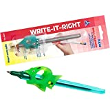 Unique Pencil Grip for Kids with Small Hands - Writing Claw with Control Angle of The Fingers - Write-IT-Right Skill-Trainer for Right-Handed Writing (4783) Green