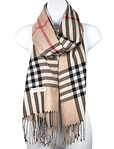Pashmina Silk Scarf Plaid Checker Pattern Long Soft Shawl Wrap Cape - Plaid Accessories