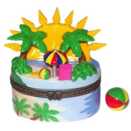 TL Products Tropical Ocean Beach Umbrella Palm Trees Sun Porcelain Hinged Trinket Box phb ()