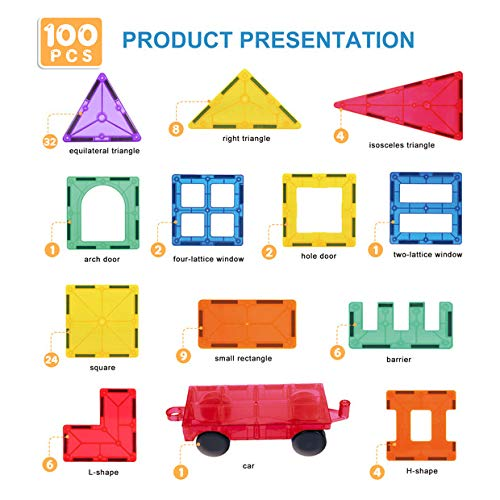VegCow 100pcs Magnetic Tiles Set - 3D Magnet Building Blocks, Educational Construction Toys for Kids – Super Durable with Strong Magnets and Superior Color by VegCow (Image #3)