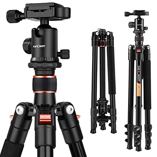 K&F Concept TM2324 Compact and Lightweight Aluminum Tripod with 360° Ball Head Compatible with Digital Camera (Orange)