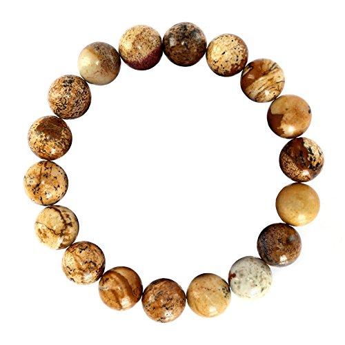 BRCbeads Gemstone Bracelets Natural Picture Jasper Genuine Gemstones Birthstone Handmade Healing Power Crystal Beads Elastic Stretch 12mm 8.5 Inch with Gift Box Unisex ()