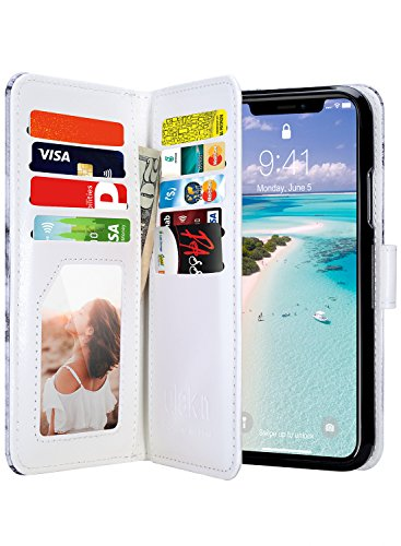 ULAK Wallet Case for iPhone Xs 5.8 Inch 2018, iPhone X 2017, Premium PU Leather Case with Credit Card Holders Magnetic Closure Flip Cover for Apple iPhone Xs X 5.8 Inch, Artistic Marble Pattern