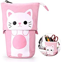 BTSKY Cute Carton Cat Pen Pencil Case- Canvas Zipper Pencil Holder Pen Organizer Stationery Pouch Bag for Students Boys and Girls(Pink)