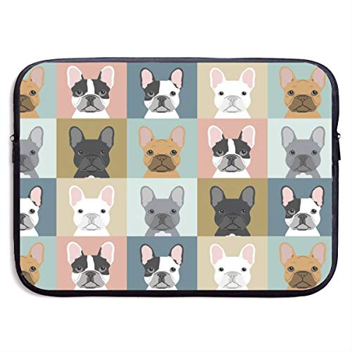 LiaanQianga French Bulldog Pattern 13-15 Inch Laptop Sleeve Bag - Tablet Clutch Carrying Case,Water Resistant, Black ()