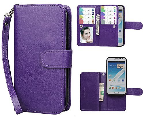 Samsung Note 2 Case, xhorizon TM FLK Premium Leather Folio Wallet Magnetic Purse Flip Book Style Multiple Card Slots Cash Case Cover for Samsung Galaxy Note 2 N7100 (Purple) (Note2 Flip Window Cover)
