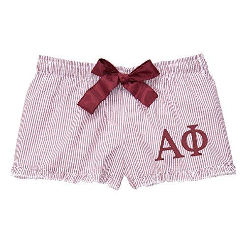 Cotton Sisters Alpha Phi Seersucker Boxer Shorts (Large 8/10, Garnet) (Alpha Merchandise)
